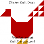 """Chicken Quilt Block a Free Pattern for a 12"""" quilt block at QuiltTherapy.com!"""