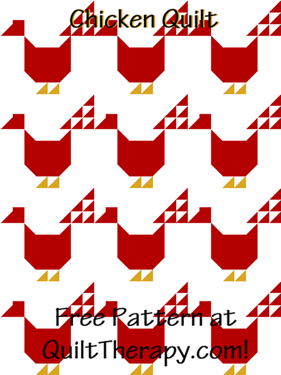 """Chicken Quilt a Free Pattern for a 36"""" x 48"""" quilt at QuiltTherapy.com!"""