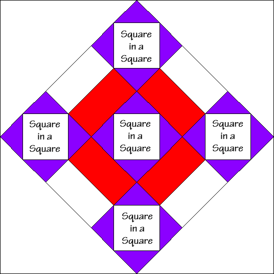 Five Squares Quilt Block Diagram Free Pattern at QuiltTherapy.com!