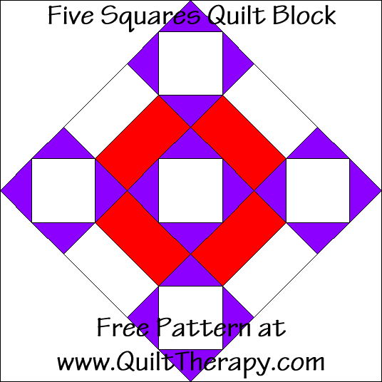 Five Squares Quilt Block Free Pattern at QuiltTherapy.com!
