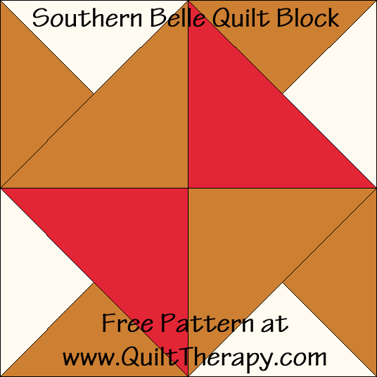 Southern Belle Quilt Block Free Pattern at QuiltTherapy.com!