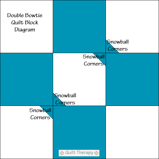 """Double Bow Tie Quilt Block Diagram a Free Pattern for 12"""" finished quilt block at QuiltTherapy.com!"""