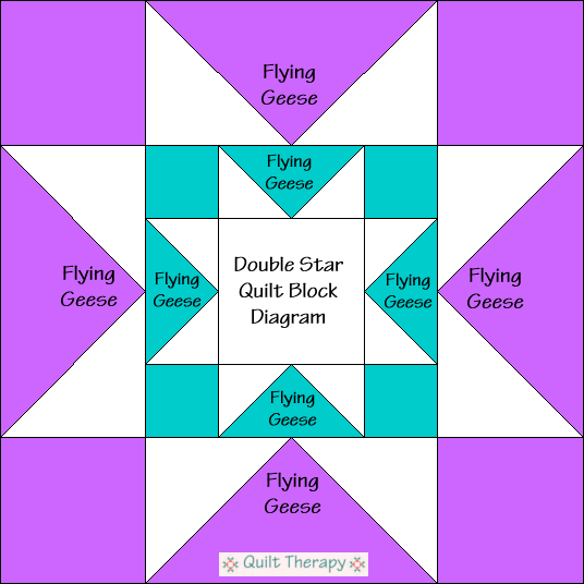 """Double Star Quilt Block Diagram a Free Pattern for 12"""" finished quilt block at QuiltTherapy.com!"""