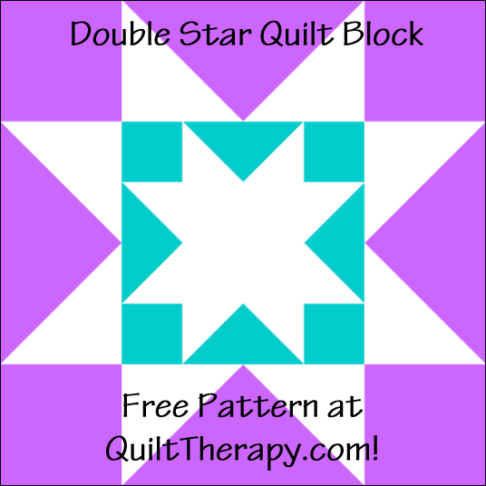 """Double Star Quilt Block a Free Pattern for a 12"""" quilt block at QuiltTherapy.com!"""