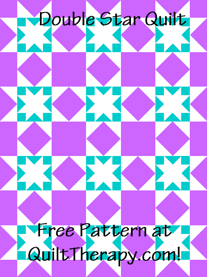 """Double Star Quilt a Free Pattern for a 36"""" x 48"""" quilt at QuiltTherapy.com!"""