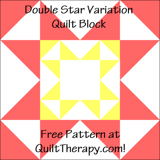 """Double Star Variation Quilt Block a Free Pattern for a 12"""" quilt block at QuiltTherapy.com!"""