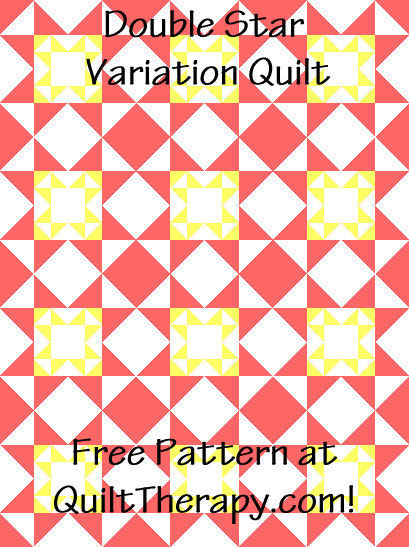 """Double Star Variation Quilt a Free Pattern for a 36"""" x 48"""" quilt at QuiltTherapy.com!"""