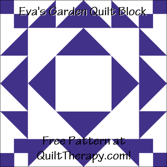 "Eva's Garden Quilt Block a Free Pattern for a 12"" quilt block at QuiltTherapy.com!"