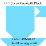 """Hot Cocoa Cup Quilt Block a Free Pattern for a 12"""" quilt block at QuiltTherapy.com!"""