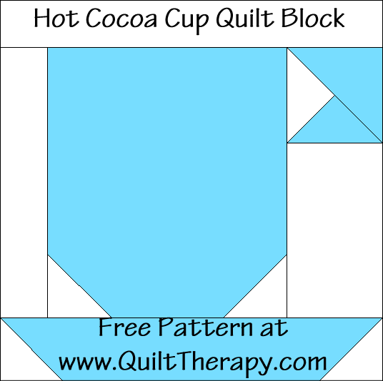 Hot Cocoa Cup Quilt Block Free Pattern at QuiltTherapy.com!