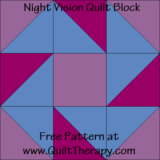 Night Vision Quilt Block Free Pattern at QuiltTherapy.com!