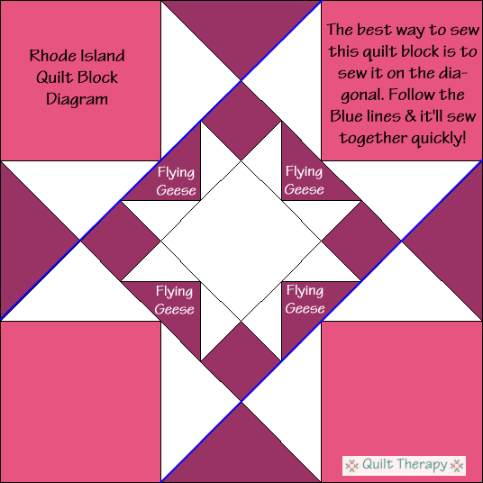 """Rhode Island Quilt Block Diagram a Free Pattern for 12"""" finished quilt block at QuiltTherapy.com!"""