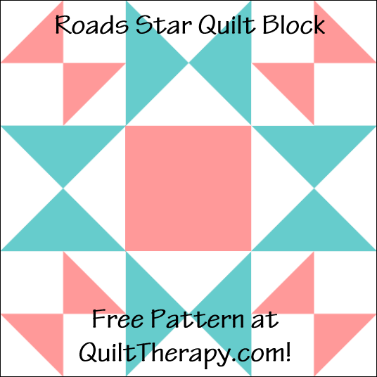 "Roads Star Quilt Block a Free Pattern for a 12"" quilt block at QuiltTherapy.com!"