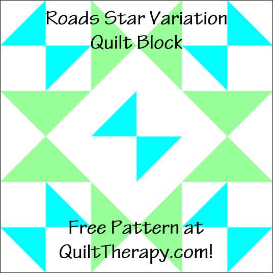 "Roads Star Variation Quilt Block a Free Pattern for a 12"" quilt block at QuiltTherapy.com!"