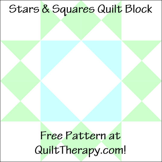 """Stars & Squares Quilt Block a Free Pattern for a 12"""" quilt block at QuiltTherapy.com!"""
