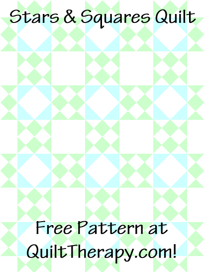 """Stars & Squares Quilt a Free Pattern for a 36"""" x 48"""" quilt at QuiltTherapy.com!"""