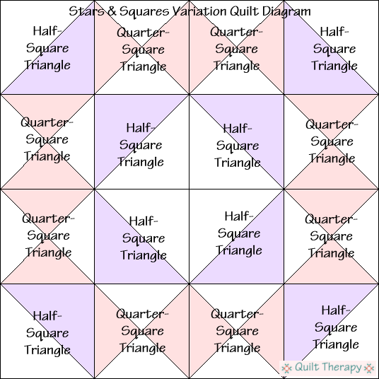 """Stars & Squares Variation Quilt Block Diagram a Free Pattern for 12"""" finished quilt block at QuiltTherapy.com!"""