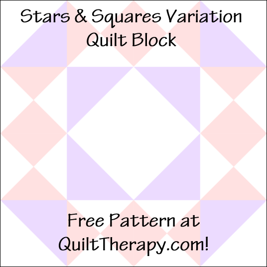 """Stars & Squares Variation Quilt Block a Free Pattern for a 12"""" quilt block at QuiltTherapy.com!"""
