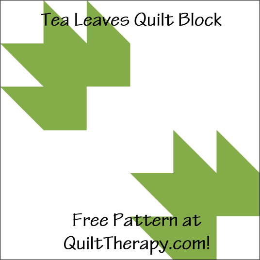 """Tea Leaves Quilt Block a Free Pattern for a 12"""" quilt block at QuiltTherapy.com!"""