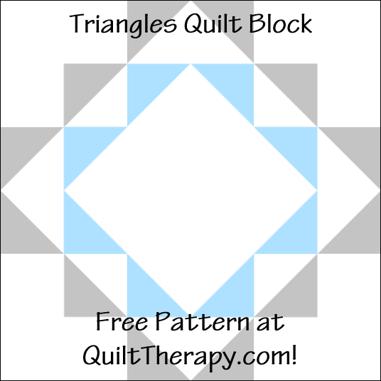 """Triangles Quilt Block a Free Pattern for a 12"""" quilt block at QuiltTherapy.com!"""
