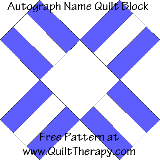 Autograph Name Quilt Block Free Pattern at QuiltTherapy.com!