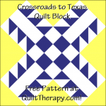"""Crossroads to Texas Quilt Block a Free Pattern for a 12"""" quilt block at QuiltTherapy.com!"""