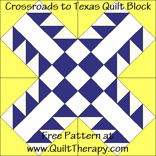 Crossroads to Texas Quilt Block Free Pattern at QuiltTherapy.com!