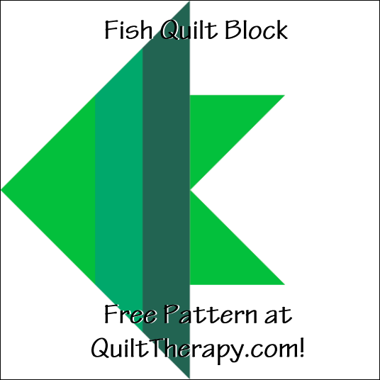 "Fish Quilt Block a Free Pattern for a 12"" quilt block at QuiltTherapy.com!"