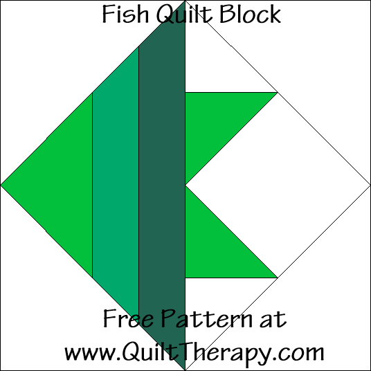 Fish Quilt Block Free Pattern at QuiltTherapy.com!