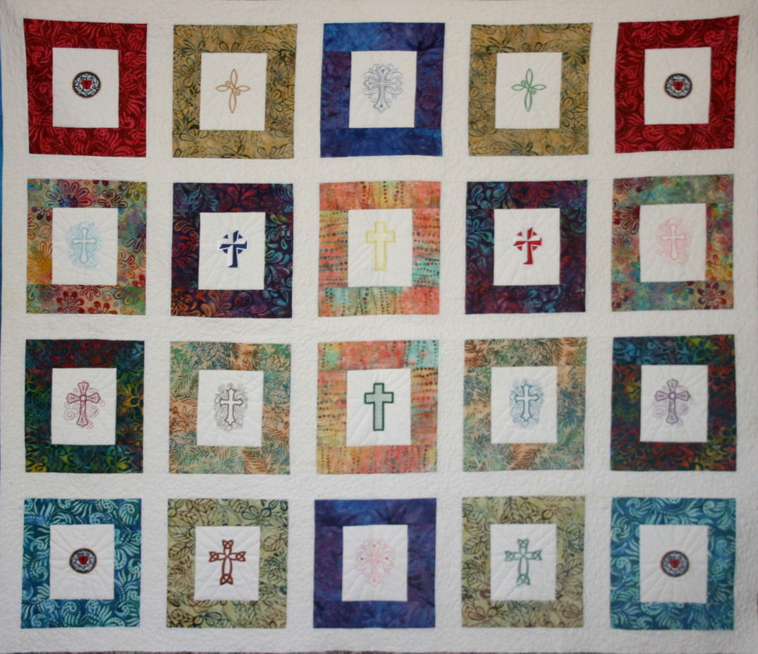Embroidered & Pieced Quilt Designed & Made by TK Harrison, Quilted by Meloney Funk