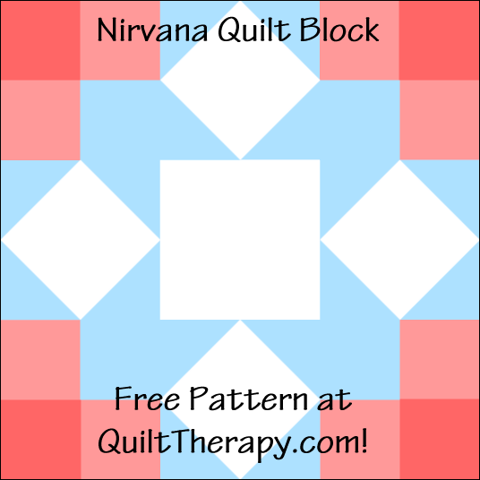 "Nirvana Quilt Block a Free Pattern for a 12"" quilt block at QuiltTherapy.com!"
