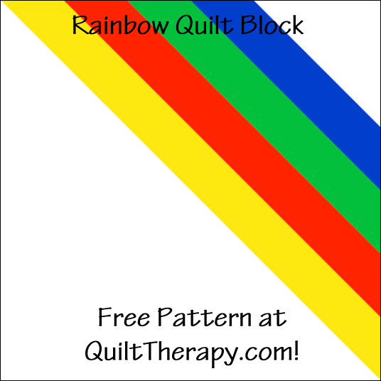 "Rainbow Quilt Block a Free Pattern for a 12"" quilt block at QuiltTherapy.com!"