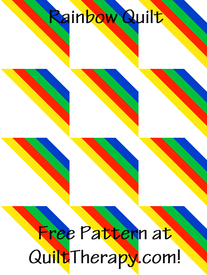 """Rainbow Quilt a Free Pattern for a 36"""" x 48"""" quilt at QuiltTherapy.com!"""
