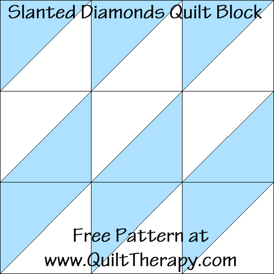 Slanted Diamonds Quilt Block Free Pattern at QuiltTherapy.com!
