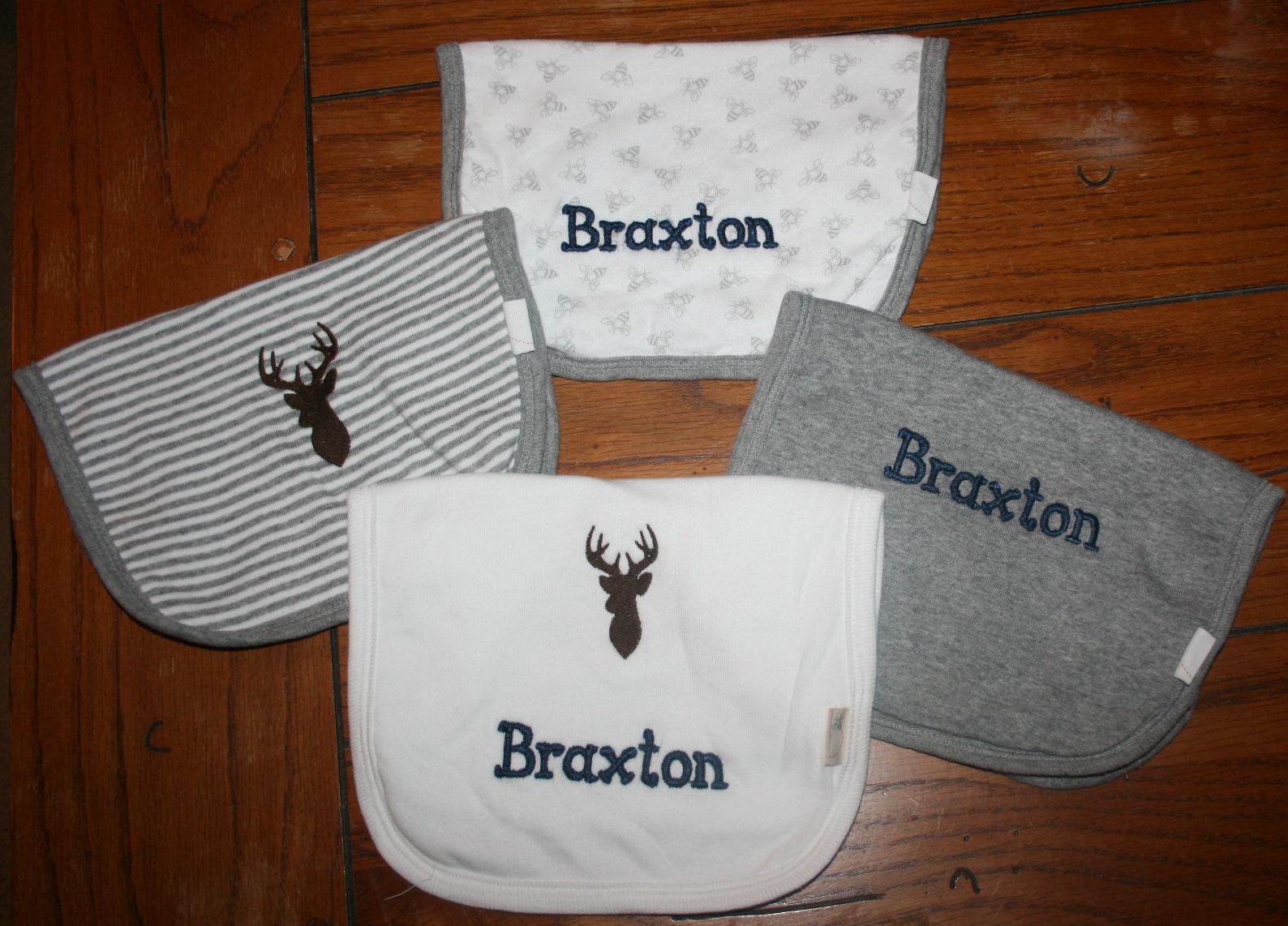 Braxton's Embroiderd Baby Bibs