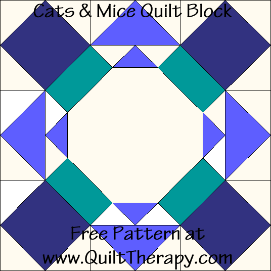 Cats & Mice Arrow Quilt Block Free Pattern at QuiltTherapy.com!