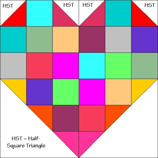 Heart Arrow Quilt Block Diagram Free Pattern at QuiltTherapy.com!