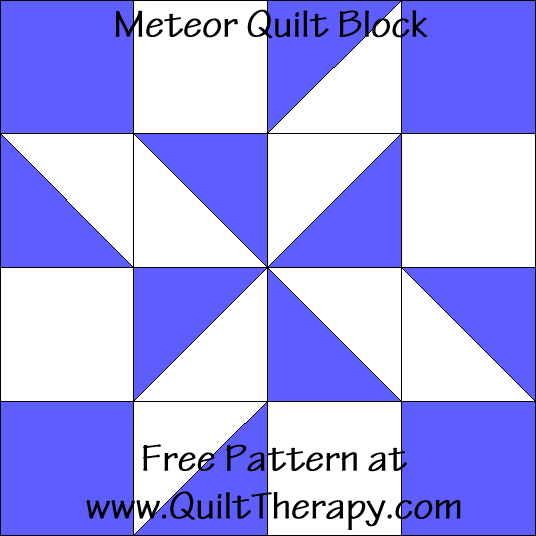 Meteor Quilt Block Free Pattern at QuiltTherapy.com!