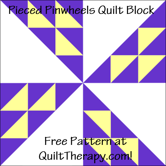 """Pieced Pinwheel Quilt Block a Free Pattern for a 12"""" quilt block at QuiltTherapy.com!"""