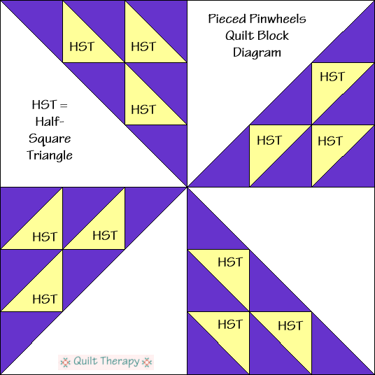 """Pieced Pinwheel Quilt Block Diagram a Free Pattern for 12"""" finished quilt block at QuiltTherapy.com!"""