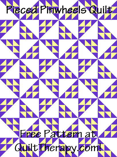 """Pieced Pinwheel Quilt a Free Pattern for a 36"""" x 48"""" quilt at QuiltTherapy.com!"""