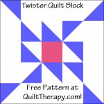 """Twister Quilt Block a Free Pattern for a 12"""" quilt block at QuiltTherapy.com!"""