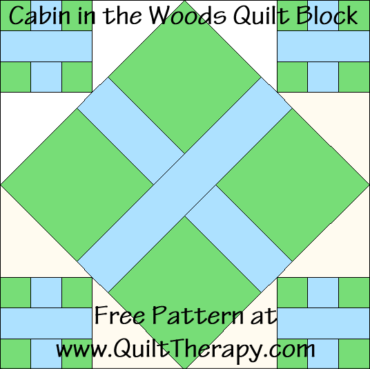 Cabin in the Woods Quilt Block Free Pattern at QuiltTherapy.com!