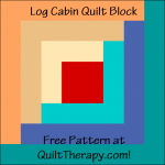 """Log Cabin Quilt Block a Free Pattern for a 12"""" quilt block at QuiltTherapy.com!"""