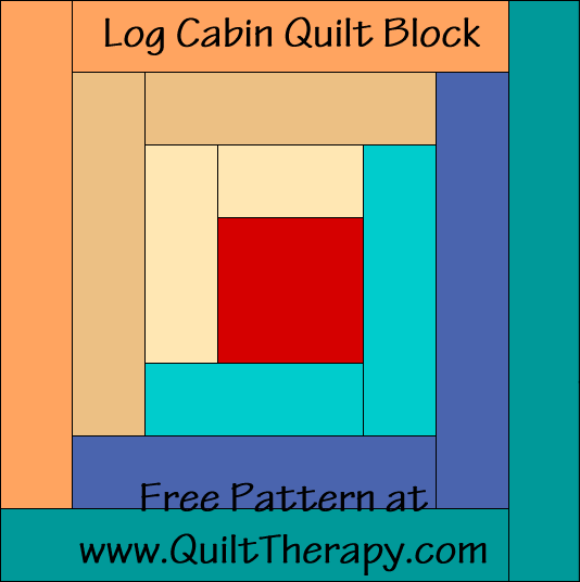 Log Cabin Quilt Block Free Pattern at QuiltTherapy.com!