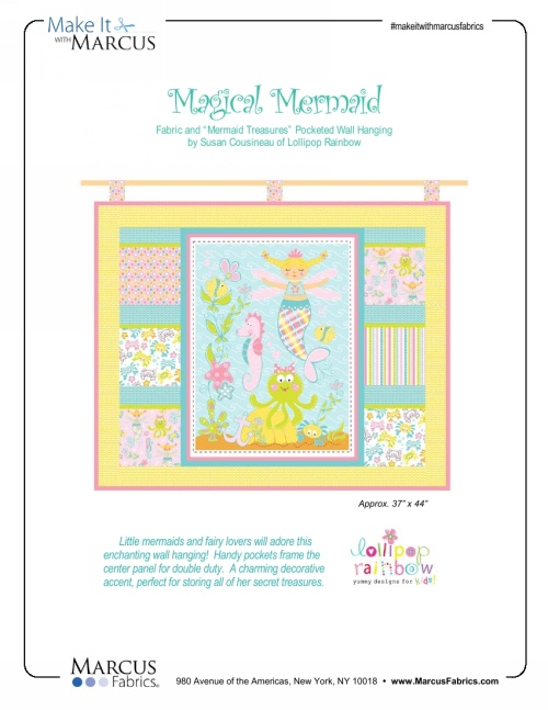 """Mermaid Treasures"" Free Baby Quilt Pattern designed by Susan Cousineau from Marcus Fabrics"