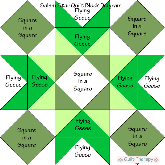 """Salem Star Quilt Block Diagram a Free Pattern for 12"""" finished quilt block at QuiltTherapy.com!"""