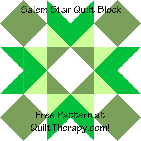 """Salem Star Quilt Block a Free Pattern for a 12"""" quilt block at QuiltTherapy.com!"""