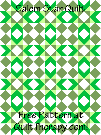 """Salem Star Quilt a Free Pattern for a 36"""" x 48"""" quilt at QuiltTherapy.com!"""