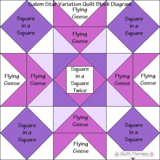 "Salem Star Variation Quilt Block Diagram a Free Pattern for 12"" finished quilt block at QuiltTherapy.com!"
